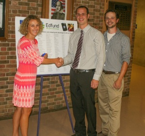 Edfund President, Jill Evers, and grant recipients, Jeff Walsh and Tate Shippen